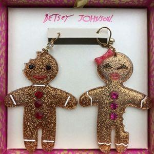Betsey Johnson Festive Mismatched Gingerbread Earr